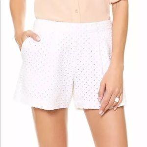 Rebecca Taylor Punch Denim White Shorts Sz 4 $195